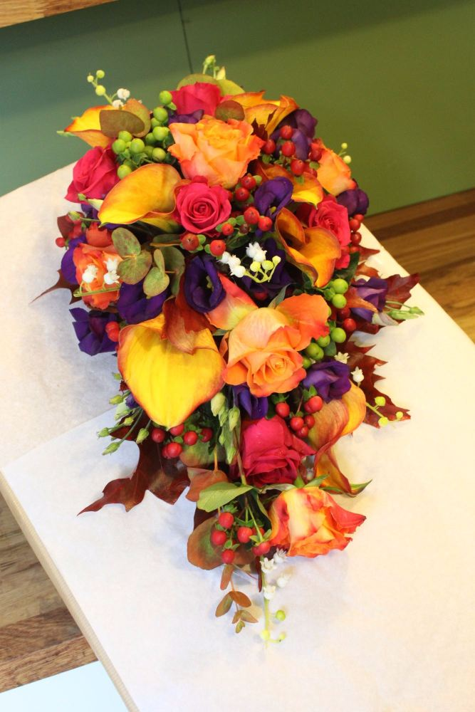 vibrant autumn brides shower bouquet