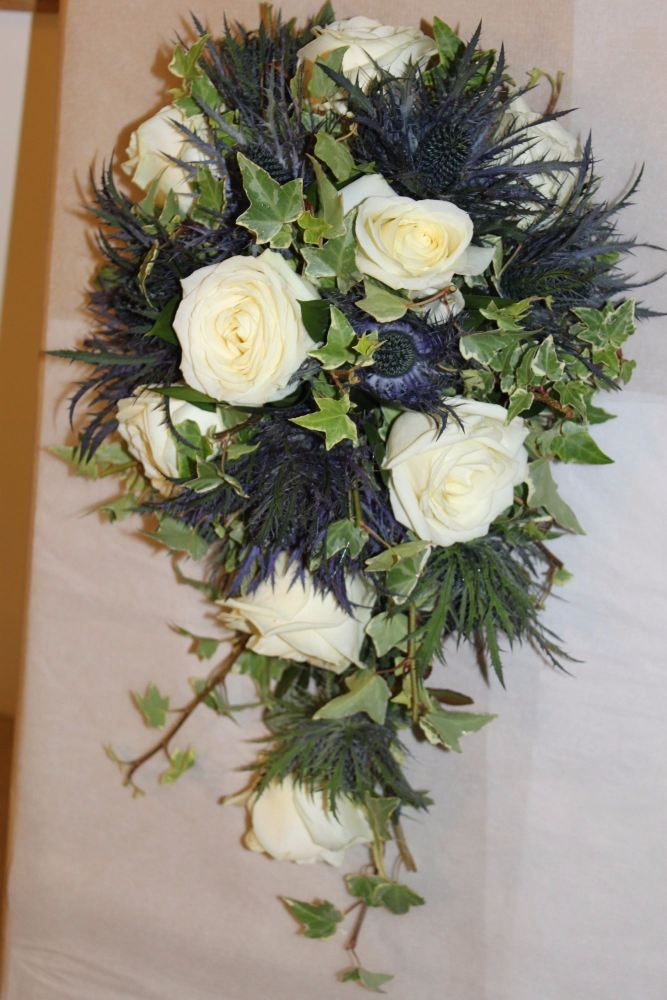 rose and eryngium brides shower bouquet