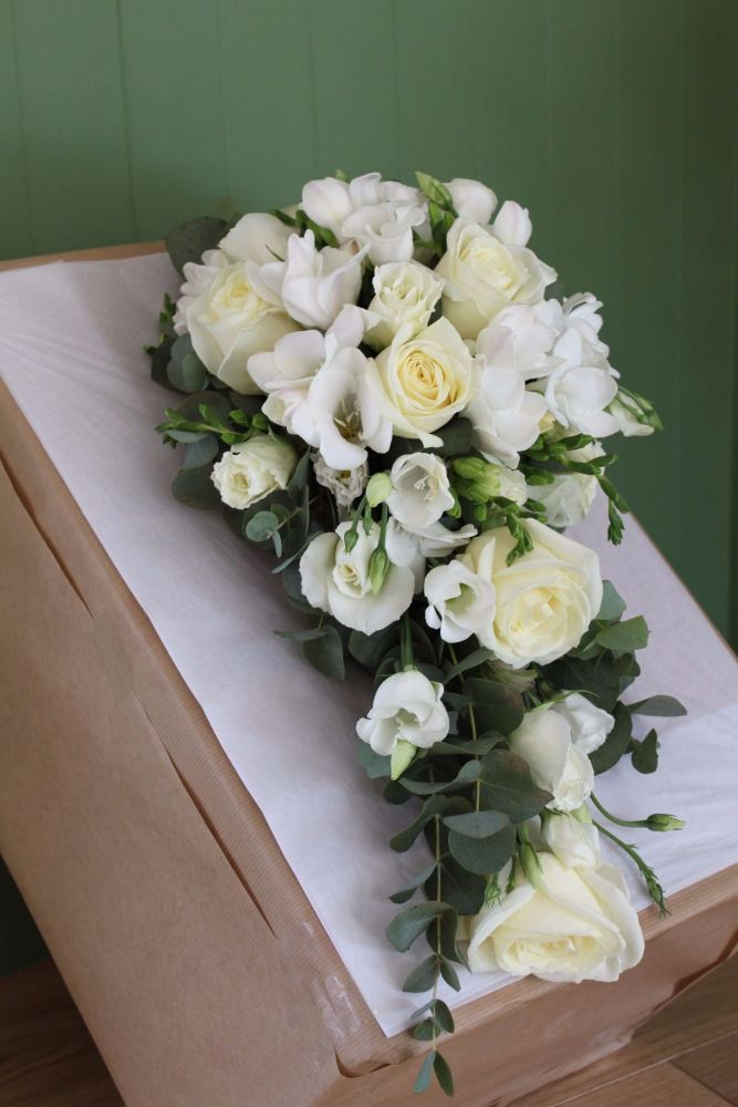 rose freesia and lisianthus brides shower bouquet