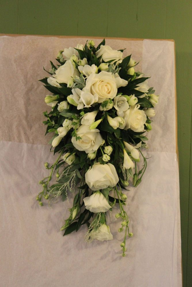 rose and freesia brides shower bouquet