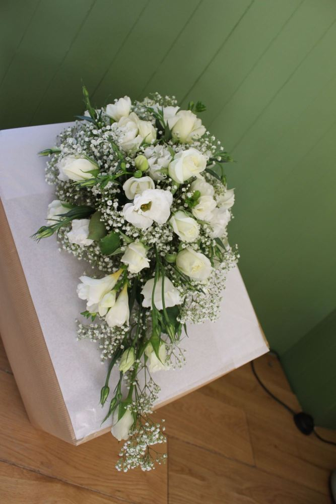 white gyp  brides shower bouquet