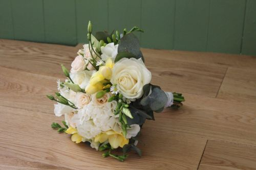 rose and freesia bridesmaids bouquets