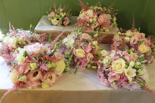 ivory and pink country garden bridesmaids bouquet