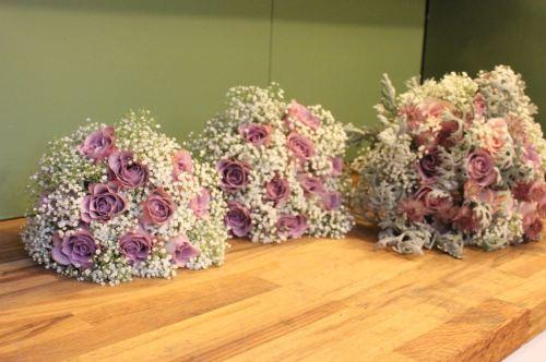 rose and gypsohilia bridesmaids bouquet