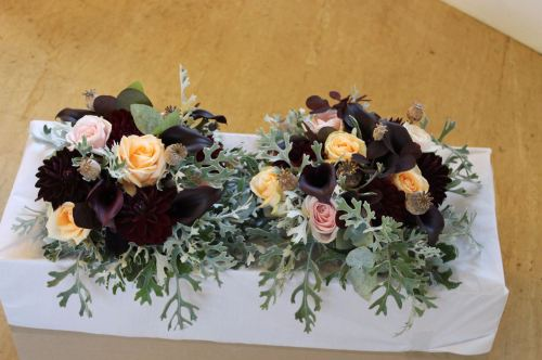 rose calla lily and dahlia bridesmaids bouquet