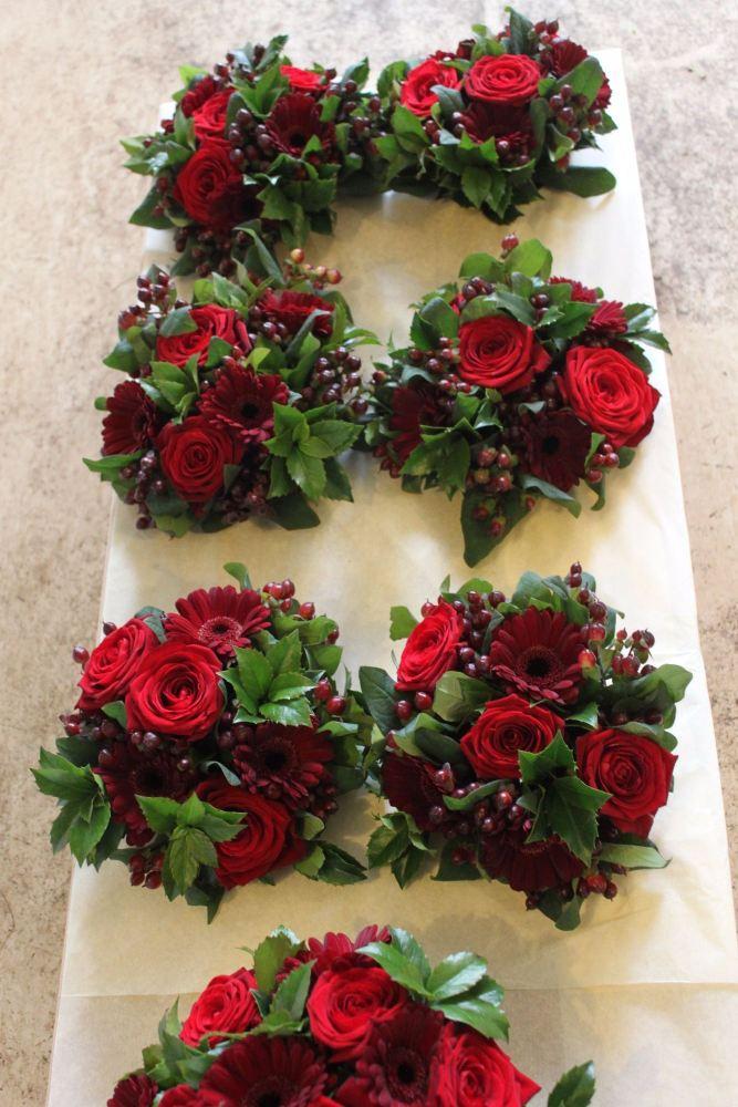 rose and gerbera bridesmaids bouquet
