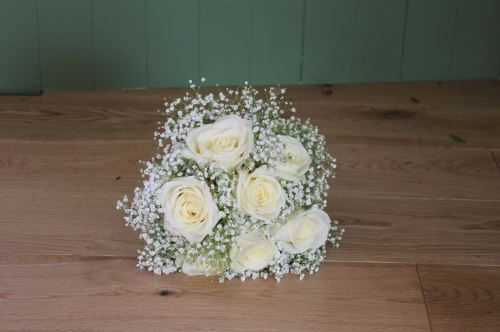 rose and gypsophilia bridesmaids bouquet