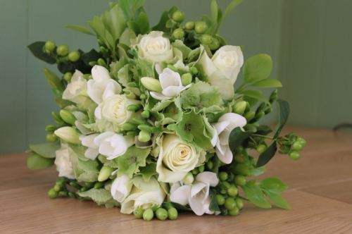 ivory rose and green bridesmaids bouquet