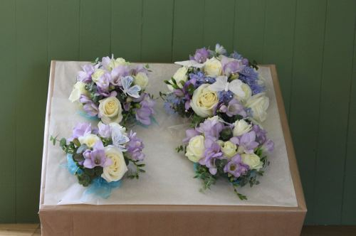 rose and freesia bridesmaids bouquet