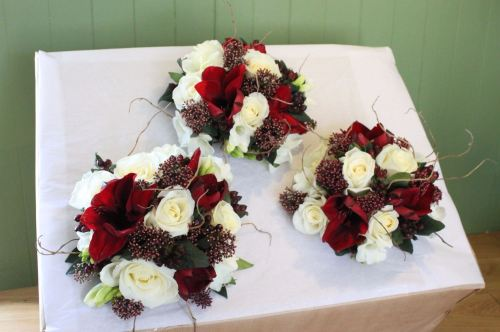 burgundy and ivory bridesmaids bouquet