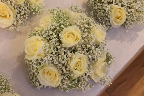 rose and babies breath bridesmaids bouquet