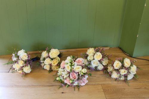 rose and wax flowerbridesmaids bouquet