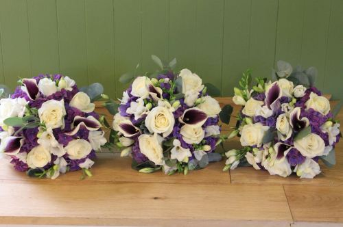 rose hydrangea and calla lily bridesmaids bouquet