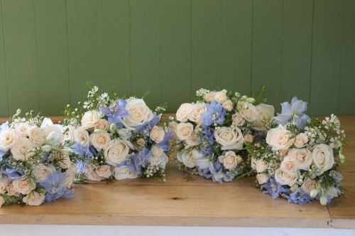 rose and delphinium bridesmaids bouquet