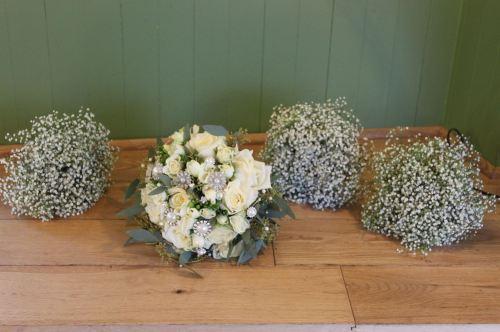 babies breath bridesmaids bouquet