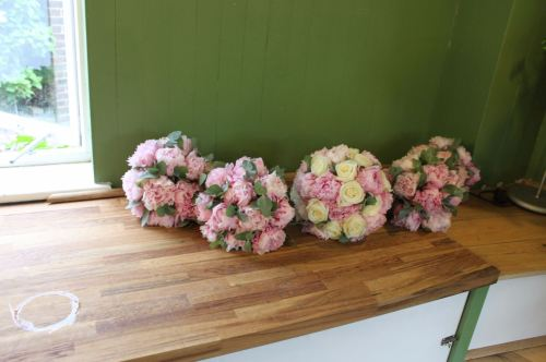 pink peony bridesmaids bouquet