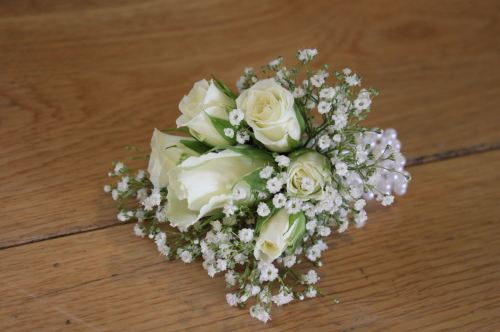 rose and gypsophilia corsage