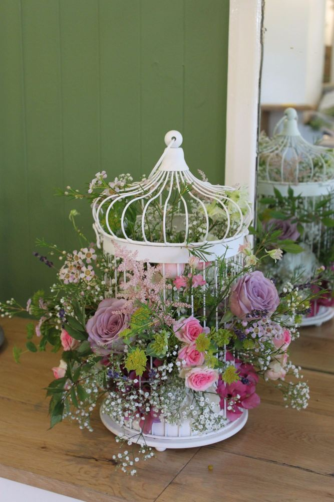 vintage bird cage arrangement