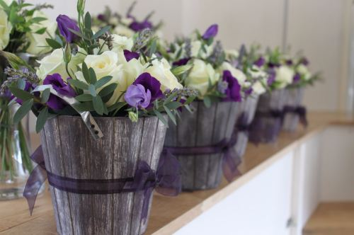 ivory and purple table center