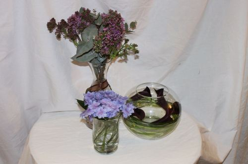 hydrangea lilac and calla lily table arrangements