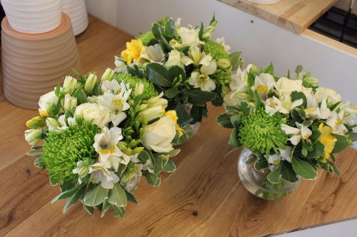 green white and yellow table arrangement