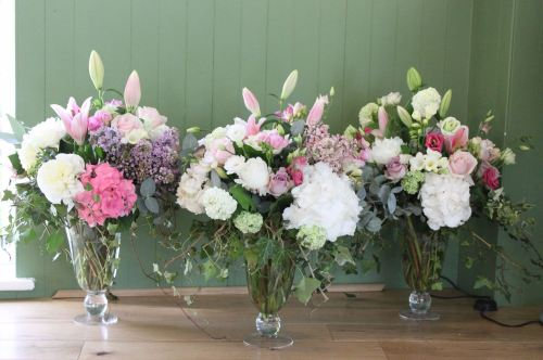 country pink and white vases