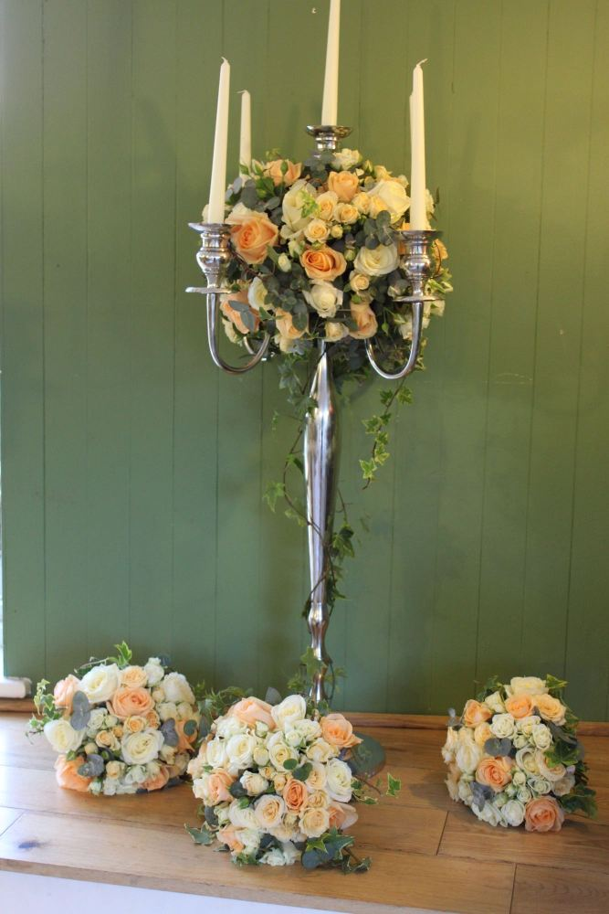 peach and ivory rose candelabra