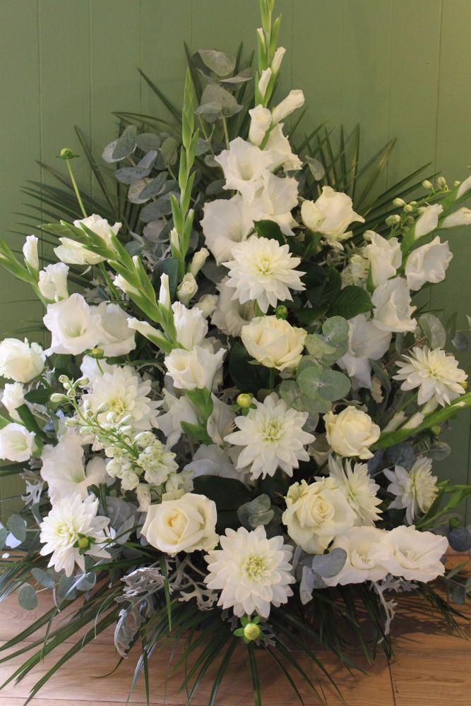 white pedestal arrangement