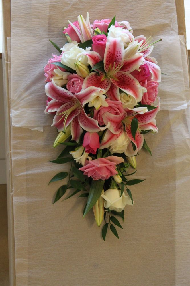 pink lily and freesia teardrop bouquet