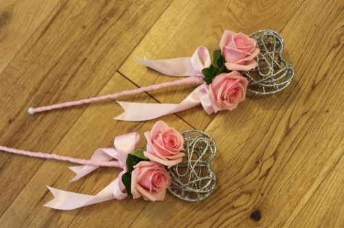 pink rose flower wand