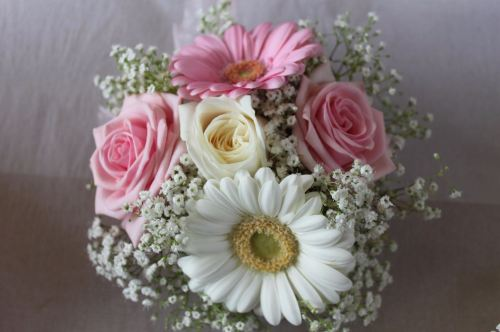 rose and germini posy