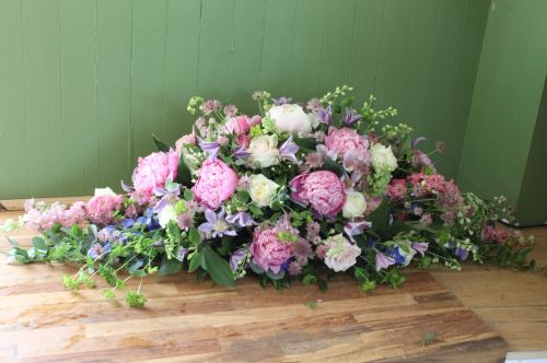 rose and peony coffin spray