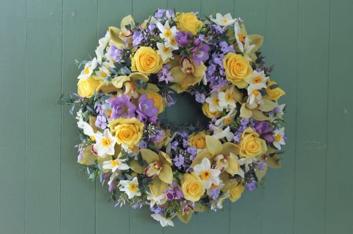 yellow and lilac wreath