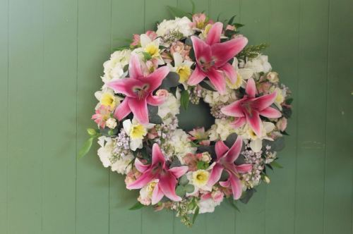 lily and hydrangea wreath