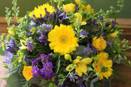 yellow and purple posy
