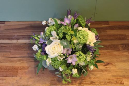 white green and lilac posy