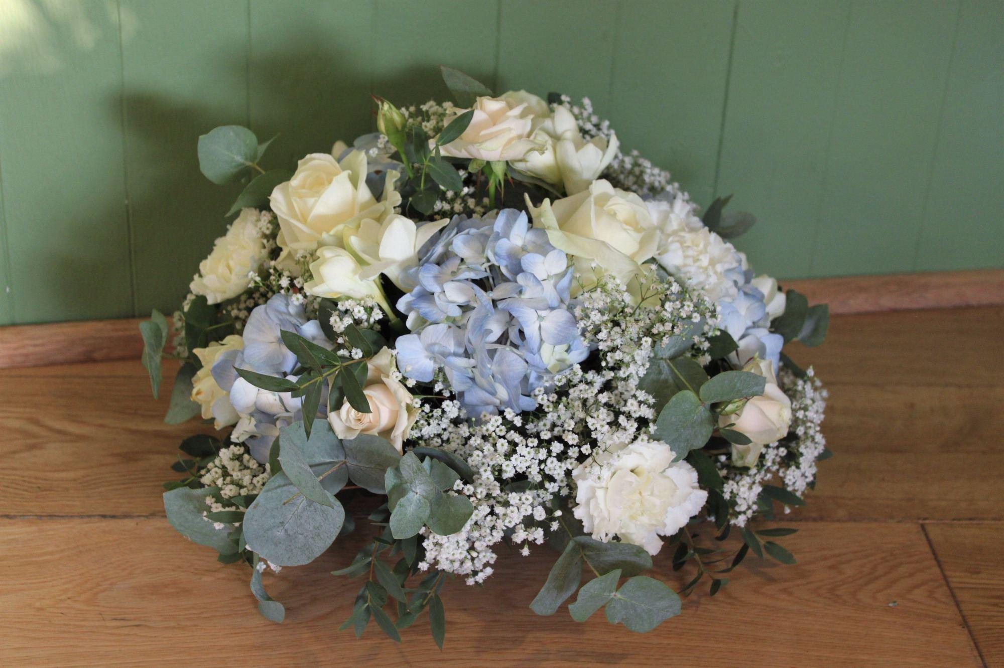 Ivory rose blue hydrangea posy
