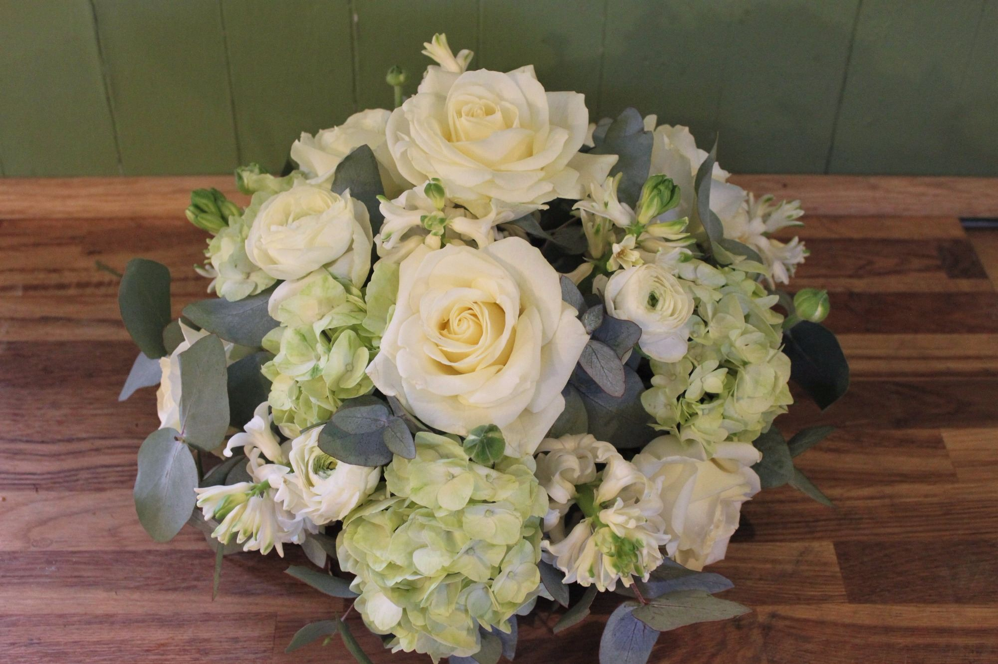 Ivory rose and green hydrangea posy