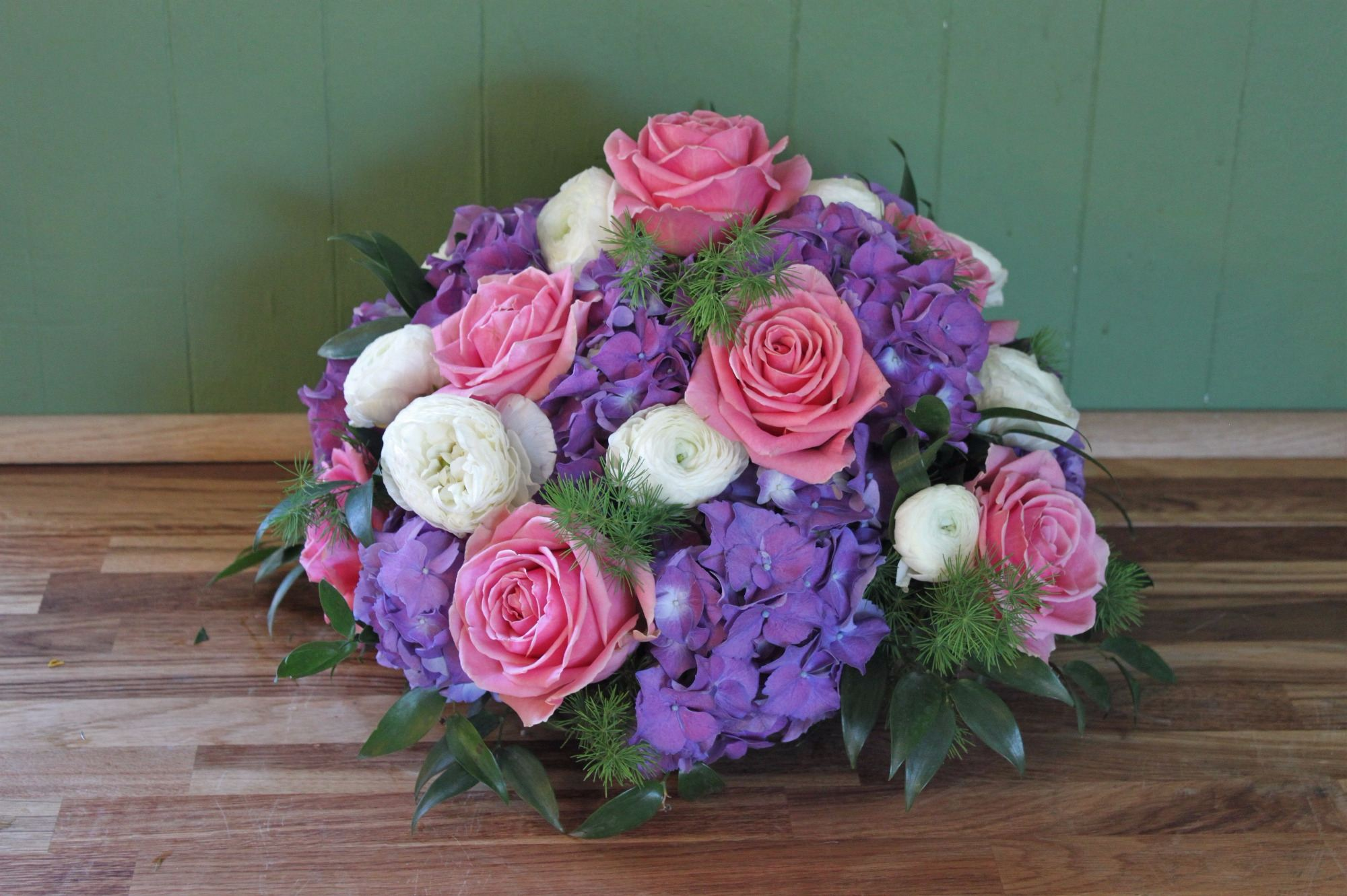 Pink rose and purple hydrangea posy