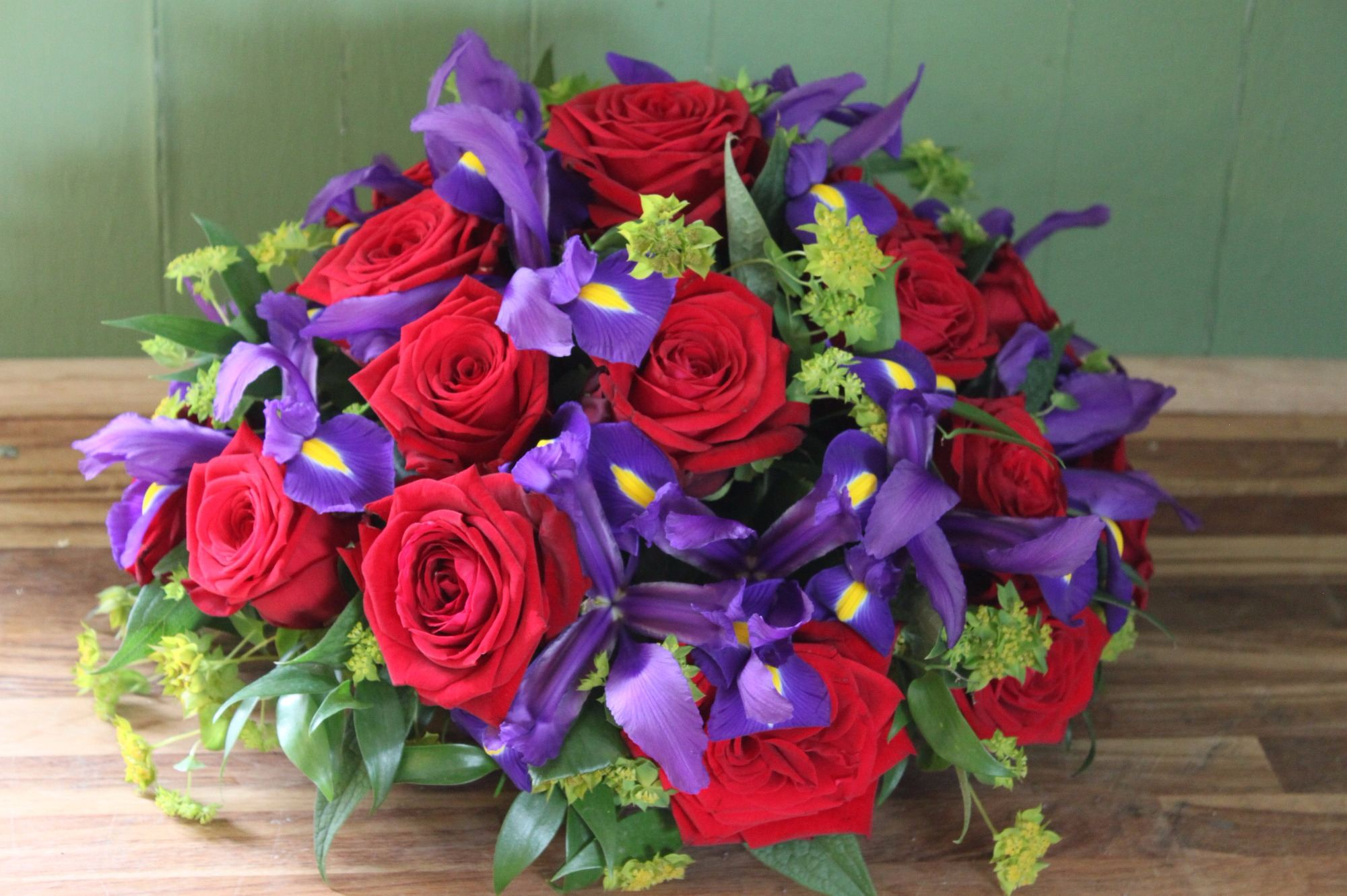 Red Naomi Roses and purple Iris posy