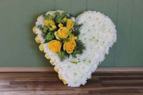 white and yellow heart