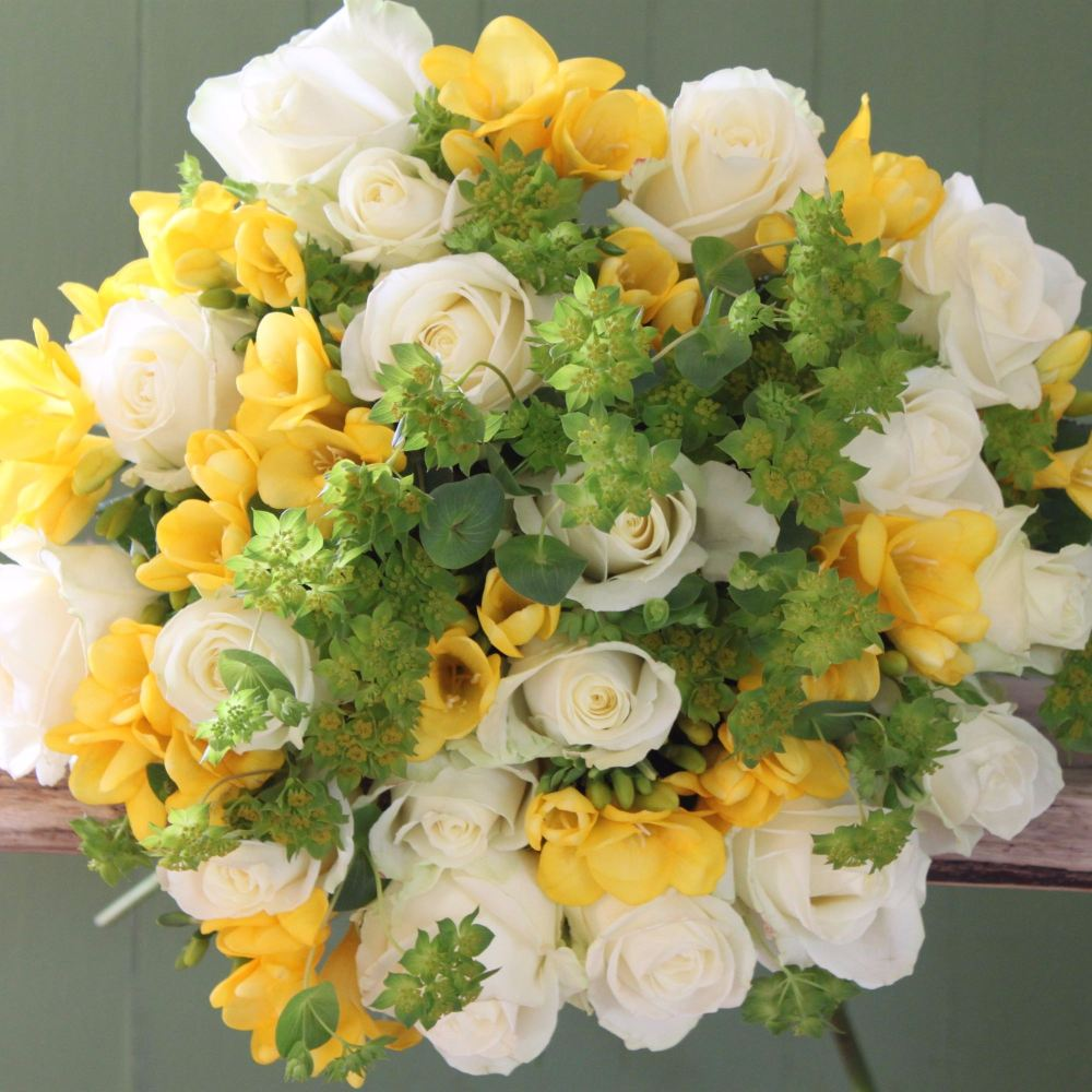Ivory Rose and Yellow Freesia Bouquet