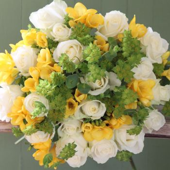 Ivory Rose and Yellow Freesia Bouquet. Price from