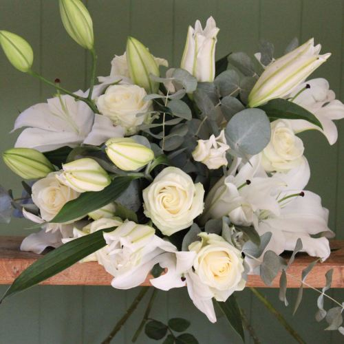 White Lily and Ivory Avalanche Bouquet