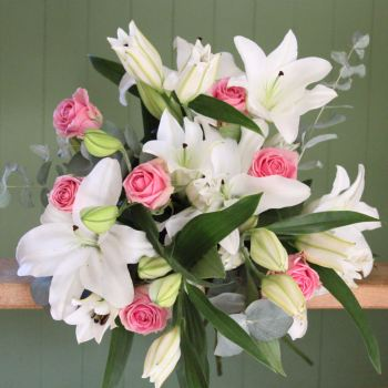 White Lily and Pink Rose Bouquet. Price from
