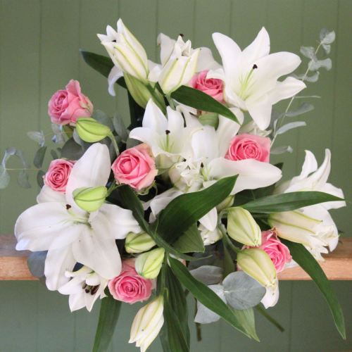 White Lily and Pink Rose Bouquet