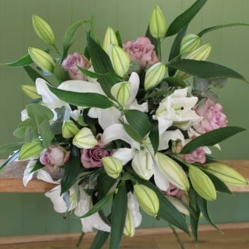 White Lily and Vintage Rose Bouquet. Price from