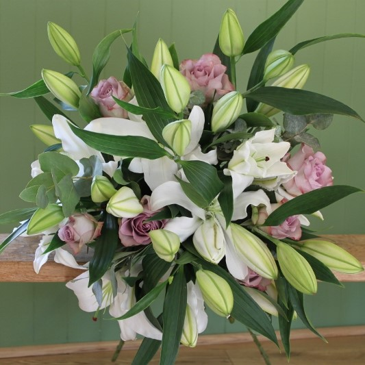 White Lily and Vintage Rose Bouquet