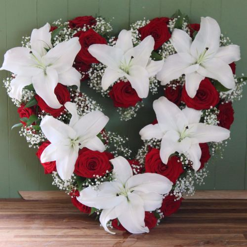 Red Rose and Lily Open Heart