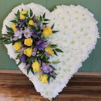 White Chrysanthemum based Heart with rose spray (choice of colours available)